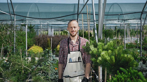 Ride the camera. The bearded gardener looks and smiles at the camera. A sunny Footage