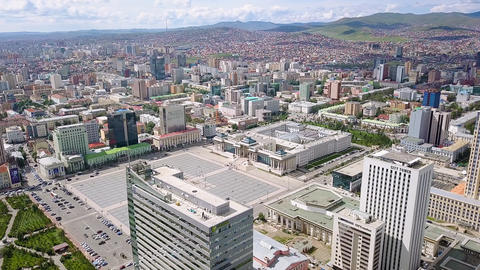 Mongolia, Ulaanbaatar. Government Palace, Chinggis Square ( SuheBator Square ), Live Action