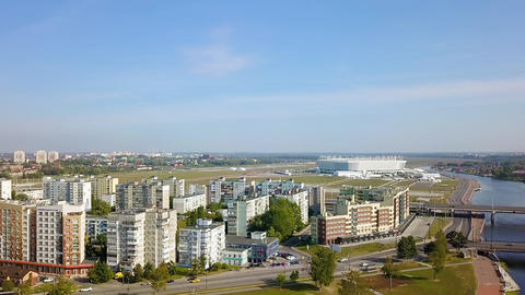 Kaliningrad, Russia. Takeoff drone and access to a common panorama with the 영상물