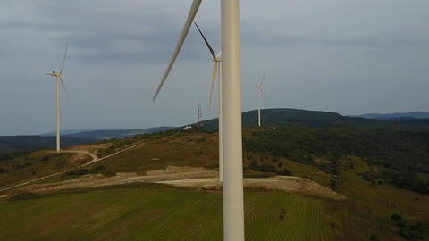 Aerial view of cluster of wind turbines in the mountains of the Carpathians Archivo