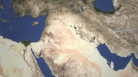 Route of a commercial plane flying to Amman, Jordan on the map, 3D animation Footage