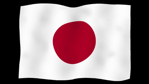 Flag of Japan, 60 fps, slow motion, lopped, alpha channel CG動画