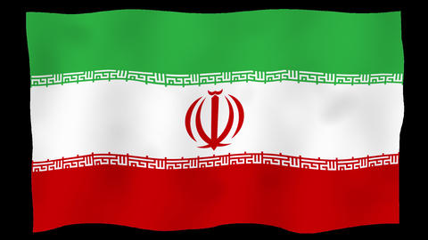 Flag of Iran (Islamic Republic of), 60 fps, slow motion, lopped, alpha channel Animation