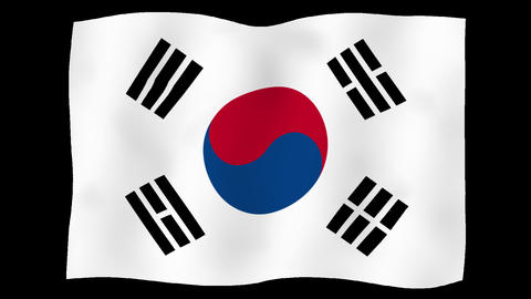 Flag of Korea, Republic of, 60 fps, slow motion, lopped, alpha channel Animation