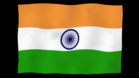 Flag of India, 60 fps, slow motion, lopped, alpha channel Animation
