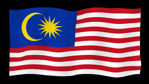 Flag of Malaysia, 60 fps, slow motion, lopped, alpha channel Animation