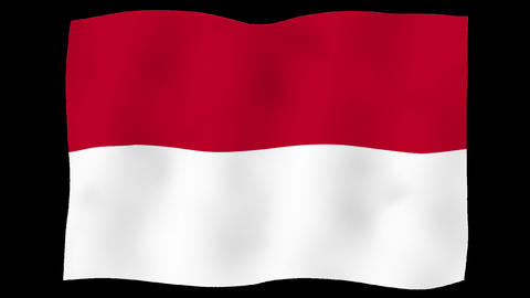 Flag of Indonesia, 60 fps, slow motion, lopped, alpha channel Animation