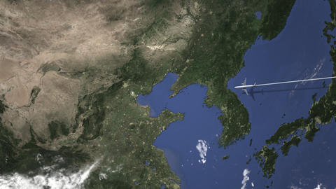 Airplane flying to Tianjin, China on the map, 3D animation Footage