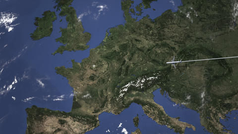Route of a commercial plane flying to Paris, France on the map, 3D animation Footage