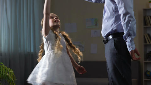 Father inviting daughter to dance, tender relations with child, ball rehearsal Live Action