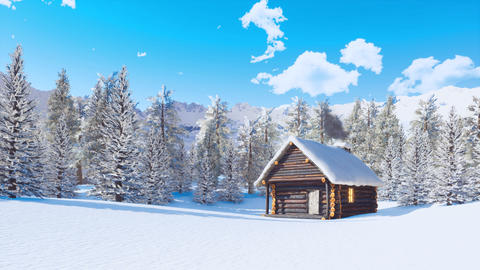 Snow covered log cabin in mountains at winter day ライブ動画