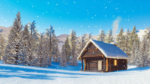 Snowbound mountain cabin at snowfall winter day cinemagraph GIF