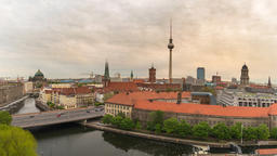 Berlin Germany time lapse 4K, city skyline timelapse at TV Tower and Spree River Footage