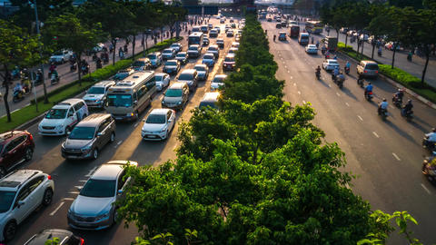 Time lapse view of Ho Chi Minh City heavy traffic in the morning Footage