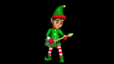 Cute elf playing rock guitar isolated with alpha channel. Seamless funny Animation