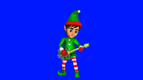 Cute elf playing rock guitar isolated on blue screen. Seamless funny Christmas Animation