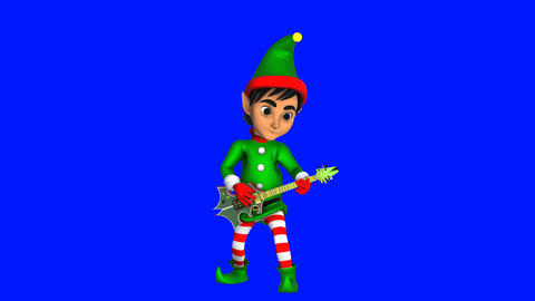 Cute elf playing rock guitar isolated on blue screen.... Stock Video Footage