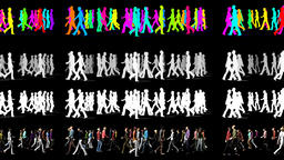 Walking Crowd in Two Directions - 3D Animation Video Element Animation