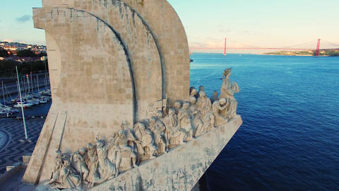 Lisbon river Monument to the Discoveries aerial Live Action