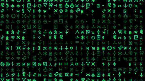 Rows of symbols and code scroll on a black screen - Text and Grids 1002 HD, 4K Animation