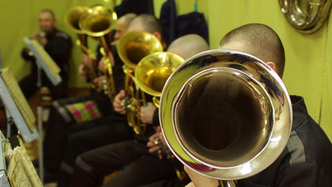 Prison brass band playing the French horn Russia Footage