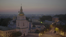 Dawn In Kiev. Ukraine. St. Michael's Cathedrale stock footage