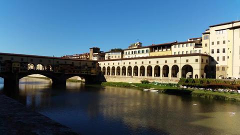 Florence, Italy Ponte Vecchio arch bridge over the river Arno Footage