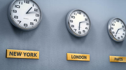 World cities time on office wall clocks Animation
