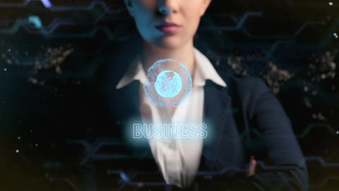 Business logo. Futuristic business woman, uses a hologram... Stock Video Footage