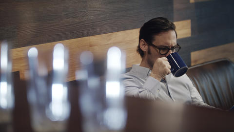 Busy Worker Drinking Coffee Business Man Working In Office Cafeteria Live-Action