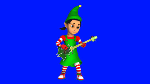 Cute elf girl playing rock guitar isolated on blue screen. Seamless funny Animation