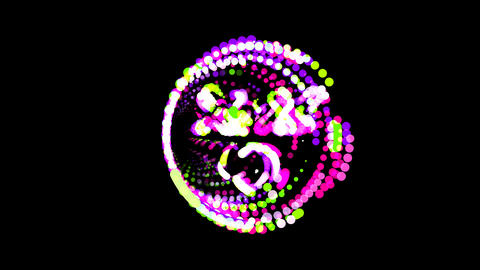 Circles gather in symbol dizzy. After it crumbles in a line and moves to the Animation