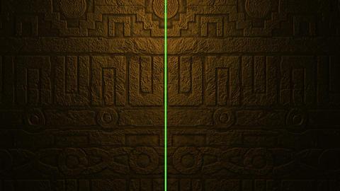 Animation - Metal Aztecs Door Opening To Green Screen Background Animation