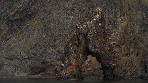a wonderful creations of nature in the coastal cliffs of an ancient extinct Footage