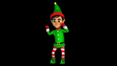 Cute elf dancing chicken dance isolated with alpha channel. Seamless funny Animation