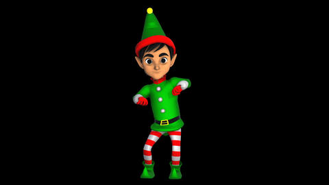 Cute elf dancing chicken dance isolated with alpha... Stock Video Footage
