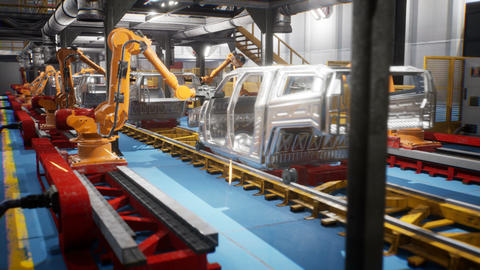 Car welding line of conveyor with frameworks of unfinished cars and robots Animation
