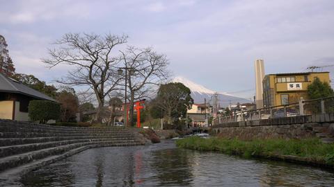 Mt. Fuji, Red divine gateway of Fujisan Hongu Sengen Taisha and Kanda river Footage