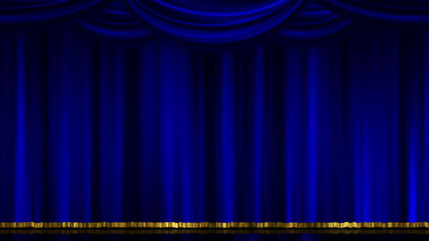 Stage Curtain Open Close blue Animation