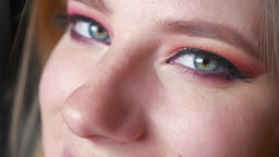 Closeup of beautiful female blue eyes makeup. Perfect smokey eyes Footage
