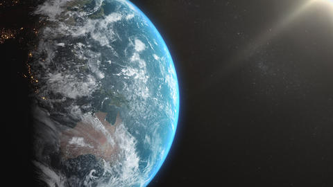 Earth View - Slow Move with Sun Animation