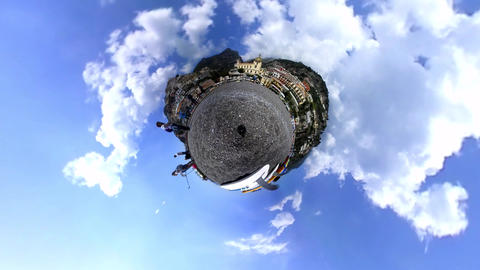 World famous Positano beach in rotating tiny planet effect Footage