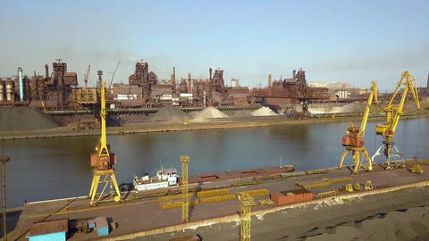 Aerial view. The metallurgical plant. Plant for metal fabrication. The view from Live Action