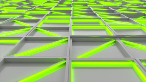 0367 Wall of white rectangle tiles with green glowing elements Animation