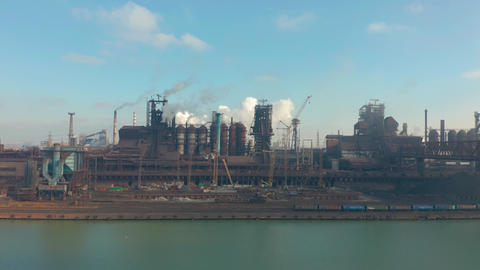 Panorama of the metallurgical plant. Plant for metal fabrication. The view from Live Action