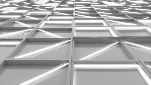 0373 Wall of white rectangle tiles with white glowing elements Animation