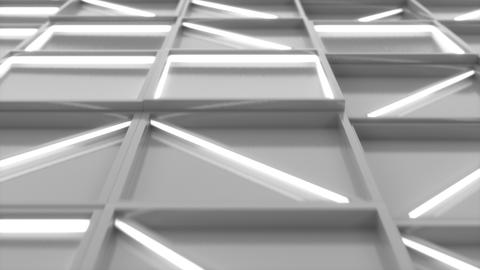 0374 Wall of white rectangle tiles with white glowing elements Animation