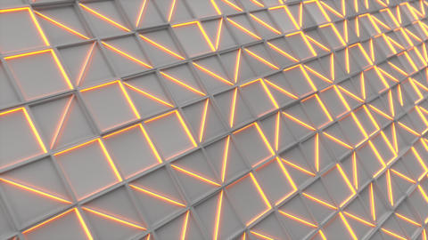 0382 Wall of white rectangle tiles with orange glowing elements Animation