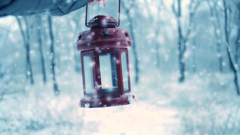 Holding in red glove red candle lantern in the winter forest Live Action