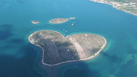 Aerial view of beautiful heart-shaped Island of Galesnjak, also called Island of Footage